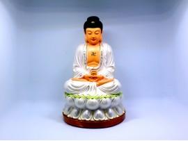 恭请释迦牟尼佛 白色 树脂工艺佛像