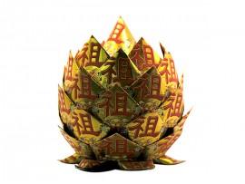 手工作品:祖宗庇佑金菠萝成品