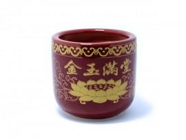 30头朱红四字陶瓷香炉(招财进宝)