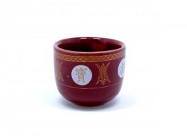 朱红小陶瓷供杯(招财进宝)